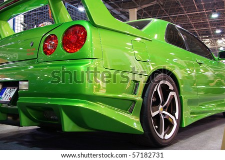 Skyline Stock on Stock Photo   Budapest March 19  Tuned Nissan Skyline R34 Gt Car With