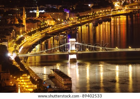 Budapest night view of Chain Bridge and Danube