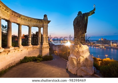 Budapest night view. The Monument to Bishop Gellert (was erected in 1904 and designed by sculptor Gyula Jankovits).