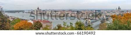 Budapest panorama over the Danube River on an overcast day