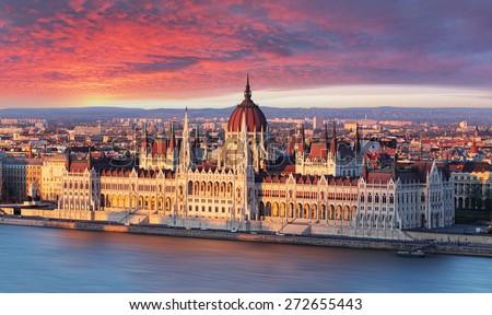 Budapest parliament at dramatic sunrise