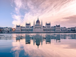 Budapest Parliament Building at Pink Clouds at Sunrise