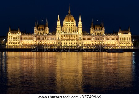 Budapest parliament on the Danube banks at night, Hungary