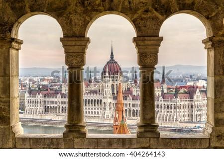 Stock Photo Budapest,  Parliament view through Fishermans Bastion, Hungary