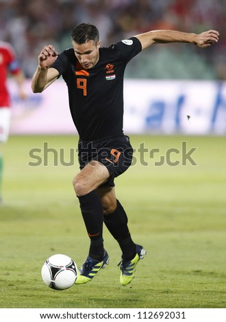 BUDAPEST - SEPT 11: Dutch Robin van Persie during Hungary vs. Netherlands FIFA World Cup qualifier football game at Puskas Stadium on September 11, 2012 in Budapest, Hungary.