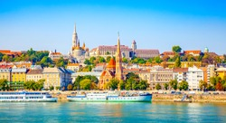 Budapest skyline, Buda castle and Danube river