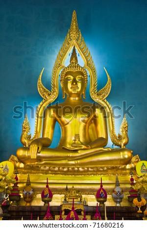 Buddha at main altar of Wat Benjamobopith, Bangkok, Thailand