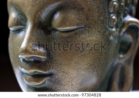 Buddha close up portrait on black #97304828