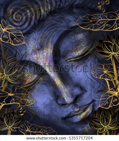 Buddha - digital art collage combined with watercolor. An unusual painting hand drawn for the interior