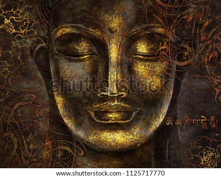 Buddha - digital art collage combined with watercolor. Mantra in Sanskrit - Om mani padme hum. An unusual painting hand drawn for the interior