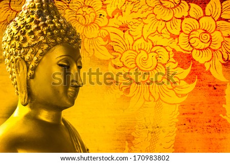 Buddha gold statue on golden background patterns Thailand.