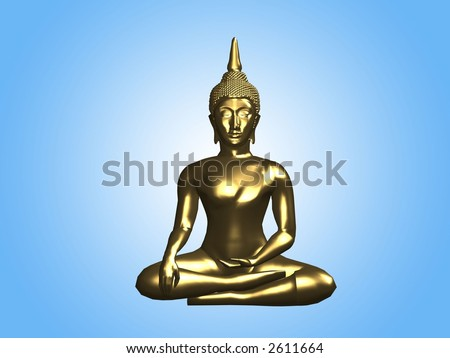 buddha golden statue sitting with blue background