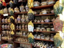 Buddha heads as souvenir in Thailand