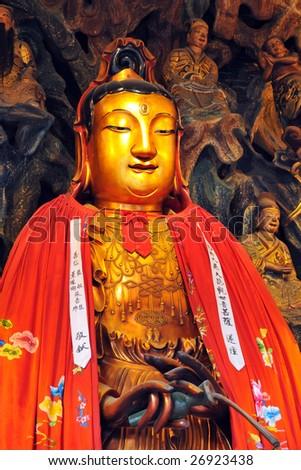 Buddha image at the Jade Buddha Temple in Shanghai, China.