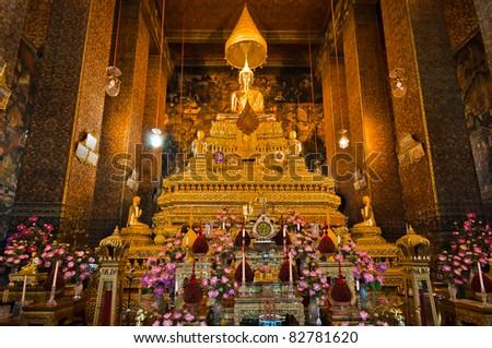 Buddha image in church of Wat Pho, Bangkok, Thailand