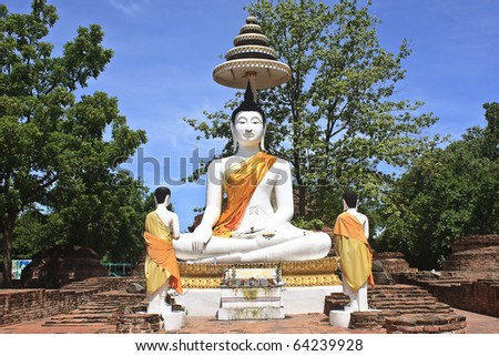 buddha image in thai temple of thailand - stock photo