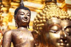 Buddha images , Close up face of gold buddha, Thailand ,Asia