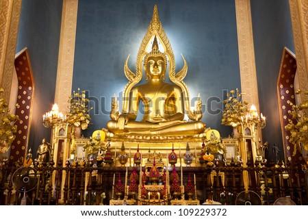 Buddha in church at Wat Benchamabophit, Bangkok, Thailand.