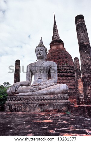 Buddha in the Historical park of Sukhothai, Thailand.