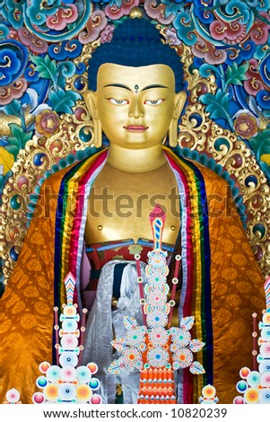 Buddha inside a Nepalese Temple in Bodhgaya, Bihar, India. - stock photo