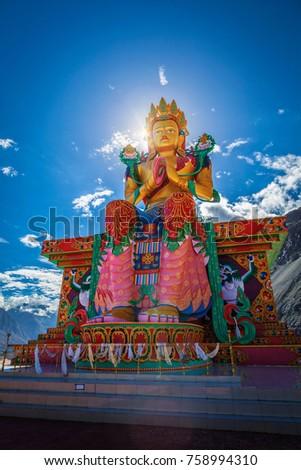 Buddha Maitreya statue in Diskit Gompa (Tibetan buddhism monastery). Diskit, Nubra Valley. Ladakh, India #758994310