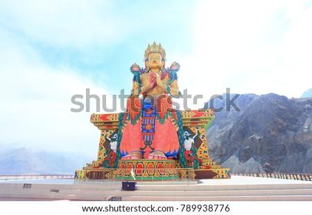 Buddha Maitreya statue in Diskit Gompa (Tibetan buddhism monastery). Diskit, Nubra Valley. Ladakh, India #789938776