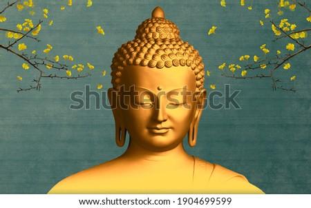 Buddha meditation background branch yellow leaves 3d wallpaper illustration