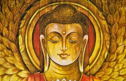Buddha meditation textured  wooden painting