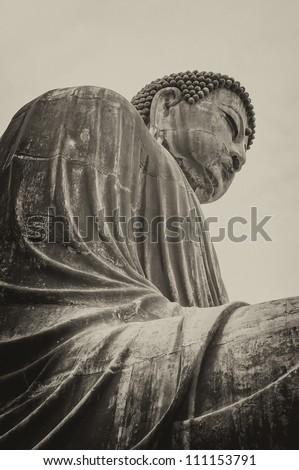Buddha of Kamakura. Daibutsu, a bronze statue of 13.41 m and weight 93 tons of Amitabha Buddha