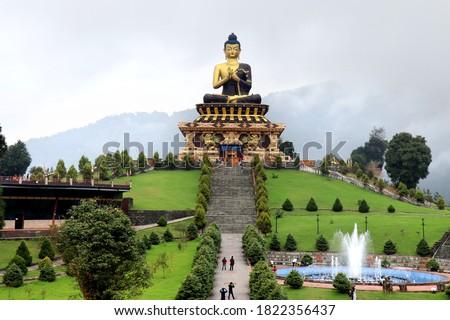 Buddha Park of Ravangla. Beautiful huge statue of Lord Buddha, at Rabangla, Sikkim, India. Gautam Buddha statue in the Buddha Park of Ravangla in South Sikkim.