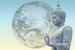 Buddha protects Earth.Scene reconstructed from real NASA foto of earth.