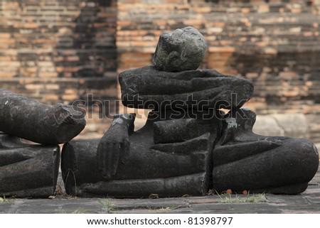 Buddha Ruins Wat Ratchaburana Ayutthaya Thailand. - stock photo