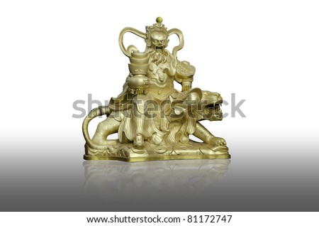 Buddha saint in joss house or chinese temple