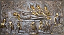 Buddha sculpture image.  Thai style metal carving