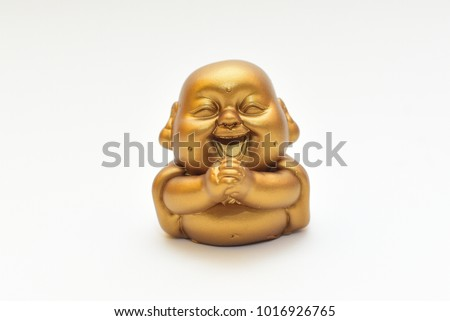 Buddha Sculpture isolated white background gold color  #1016926765