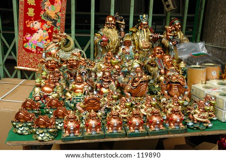 Buddha sculptures sold in Bangkok Chinatown for the Chinese Lunar New Year
