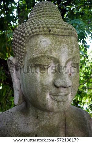 buddha statue among nature at kilassa mountain royal palace phnom