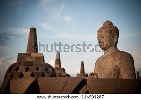 Buddha statue at Borobudur temple, Java, Indonesia