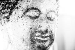 Buddha statue, black and white image