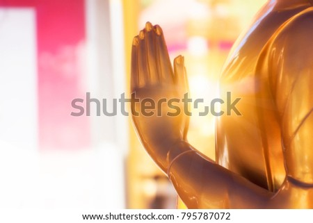 Buddha statue, hand Buddha with light image at the temple