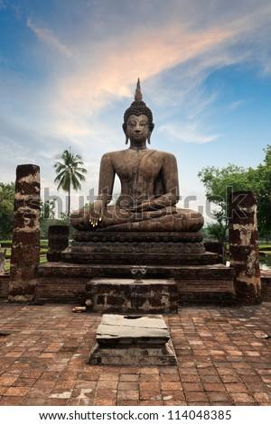 Buddha statue hand close up detail. Sukhothai, Thailand