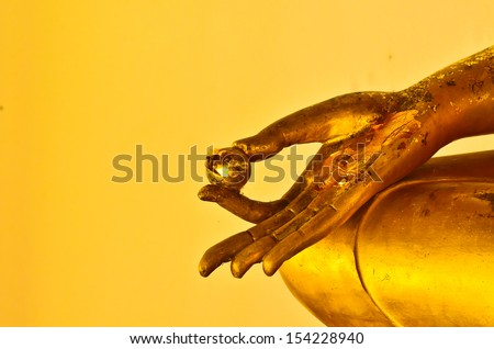 buddha statue hands on yellow background