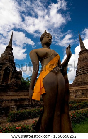 Buddha statue in front of a temple, Ayutthaya, Thailand, Southeast Asia, Asia