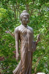 Buddha statue in front of Santacittarama Buddhism Monastery , A religious organization  its meditative practices the standards of Buddhism.Buddhist Temple in Italy
