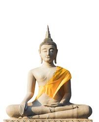 Buddha statue in meditation isolation  White background