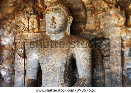 Buddha statue in Polonnaruwa temple - medieval capital of Ceylon,UNESCO World Heritage Site