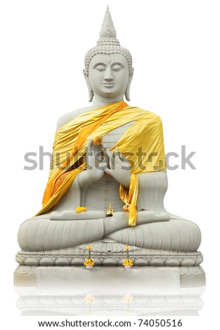 Buddha statue on a White background Thai art culture