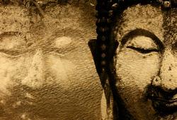 Buddha statue on golden background patterns Thailand.