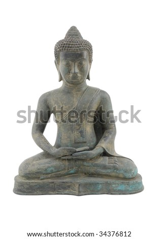 Buddha statue on white background.  A metal artifact that is simple with clean lines.