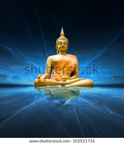 Buddha statue over scenic lighting background